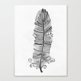 Black and White Feather Zen Canvas Print