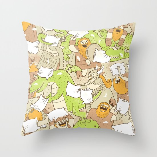 Vikings vs Dragons Throw Pillow