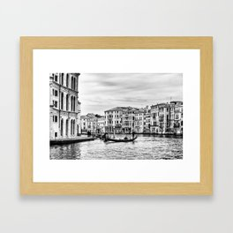 Gondola and tourists in Venice Framed Art Print