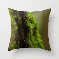moss Throw Pillows featuring Moss by SachelleJuliaPhotography