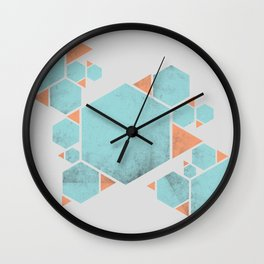 Geometric Hexagons and Triangles Wall Clock