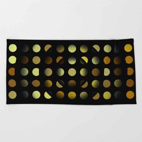 Golden moons dark circles Beach Towel