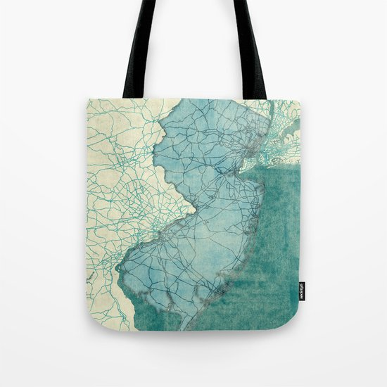 New Jersey State Map Blue Vintage Tote Bag