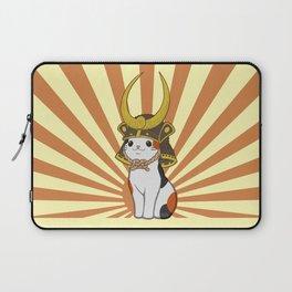 Japanese Bobtail Cat Wears Samurai Hat Laptop Sleeve