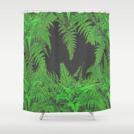 DECORATIVE CHARCOAL GREY GREEN FERNS GARDEN ART Shower Curtain