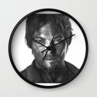 daryl dixon Wall Clocks featuring Daryl Dixon by Mike Robins