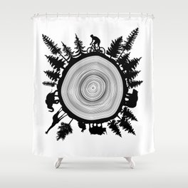 Into The Woods - Tree Ring Shower Curtain