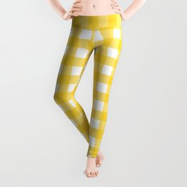 White & Yellow Gingham Pattern Leggings