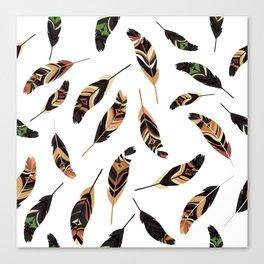 Feathers seamless pattern, vector illustration Canvas Print