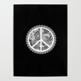 Zen Doodle Peace Symbol Black And White Poster