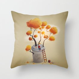 Coffee Shop Tree Throw Pillow