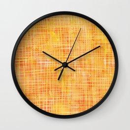 Gold Sunshine Watercolor Crosshatch Wall Clock