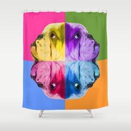 English Bulldog Pop Art portrait. Shower Curtain