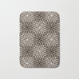 Black and Tan Geometric Modern Chrysanthemum Pattern Bath Mat