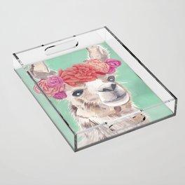 Flower Crown Llama Acrylic Tray