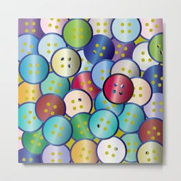 Multi Color Button Background Metal Print