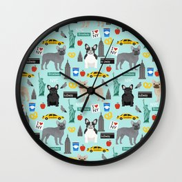 French Bulldog new york city tourist big apple dog breed pet friendly designs Wall Clock