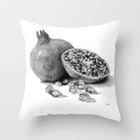 pomegranate Throw Pillows featuring Pomegranate by Darkensian