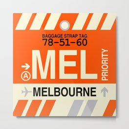 MEL Melbourne • Airport Code and Vintage Baggage Tag Design Metal Print