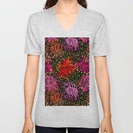 Australian Firewheel Flowers in Pink + Black Unisex V-Neck