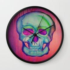 Watercolor skull/Blue Wall Clock