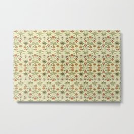 Flowers hand painted over canvas based on a William Morris design Metal Print