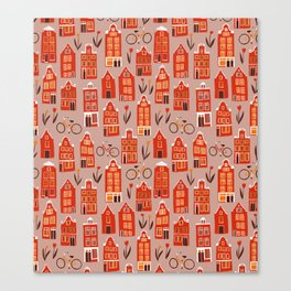 Red Orange Holland Houses Canvas Print