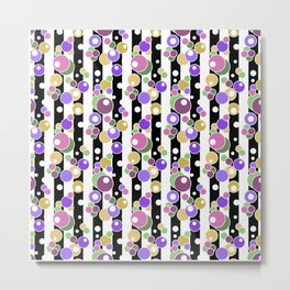 Colorful polka dots on black and white striped background . Metal Print