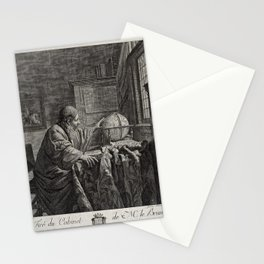 A scholar in his study, observing a globe (1784) Stationery Cards