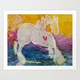 pink golden heart horse pony watercolor by CheyAnne Sexton Art Print
