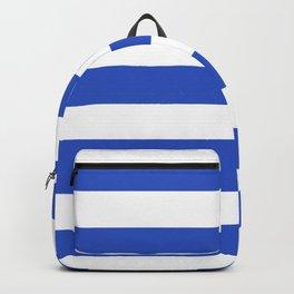 Cerulean blue - solid color - white stripes pattern Backpack