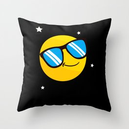 Cool Smile Sunglasses Emoticon Funny Emote Throw Pillow