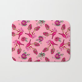 Poinsettia Dance Shoes, Christmas, Holidays, New Year Party Bath Mat