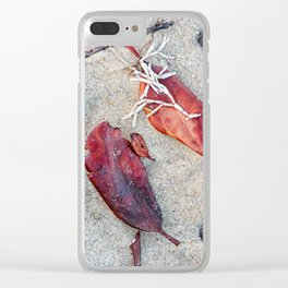 Coralline algae and dead leaf on sand Clear iPhone Case