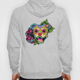 Smiling Pit Bull in Fawn - Day of the Dead Pitbull Sugar Skull Hoody