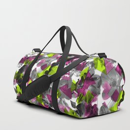 Geometric Fragmented Wild Rose Pattern Chartreuse Duffle Bag