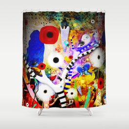 Since you are here - Striped Tree Black and white - Rainbow Abstract Art Shower Curtain