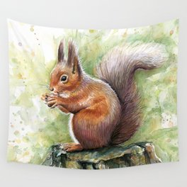Squirrel and Nut Forest Animals Watercolor Wall Tapestry