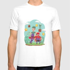 Mario and Luigi! MEDIUM White Mens Fitted Tee