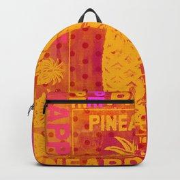 Pineapple pink orange colorful artwork Backpack