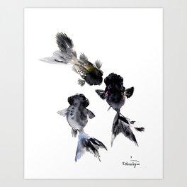 Black Moor, Feng Shui Koi Fish Art, Three Fish black fish decor Kunstdrucke
