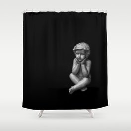 White sculpture of a small boy Shower Curtain