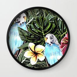 Tropical bird with floral texture Wall Clock