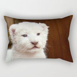 I will hug him and pet him and squeeze him and I will name him George - White Lion Cub Rectangular Pillow