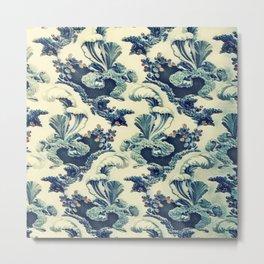 Floral Scroll Vintage Leaf Pattern Metal Print