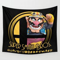 super smash bros Wall Tapestries featuring Wario - Super Smash Bros. by Donkey Inferno