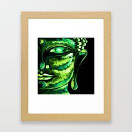 GREEN BUDDHA PAINTING Framed Art Print