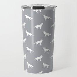 German Shepherd silhouette grey and white minimal dog breed pattern dogs dog art Travel Mug