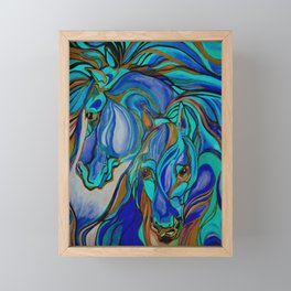 Wild Horses In Brown and Teal Framed Mini Art Print