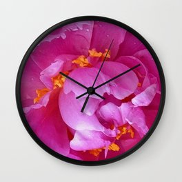 Abstract Modern Pattern of Blooming  Fuchsia-pink Spring Peony Flower Wall Clock